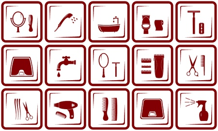 leakage: set red objects - hair care and bathroom icons