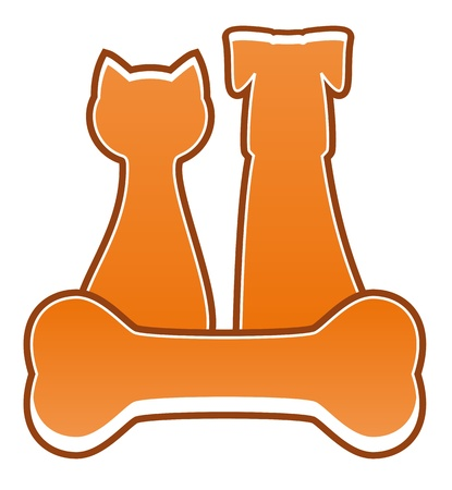 pet feed symbol with dog, cat and bone Vector