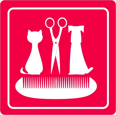 grooming barbershop for pet with dog, cat scissors and comb Vector