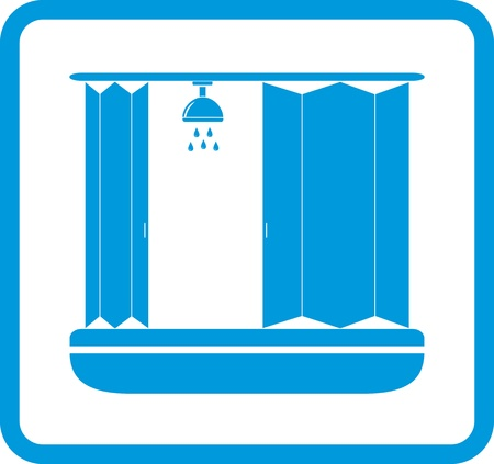 blue bathroom icon with shower room silhouette Vector