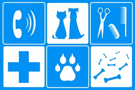 icons for pet services - veterinary symbol and animal supplies goods Vector