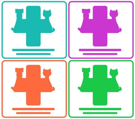 set colorful veterinary icons with pets and medical sign Stock Vector - 21702919