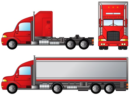 front side: set big american truck on white background