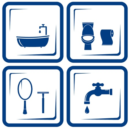 icônes vectorielles de bain bleu Ensemble Vecteurs