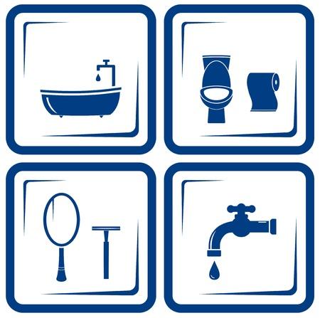 sewerage: vector blue bathroom icons set Illustration