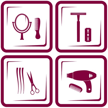 set barbershop tools - symbol of beauty care Stock Vector - 21702922