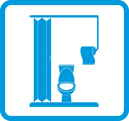 vector restroom icon with lavatory pan and toilet paper Stock Vector - 21702923