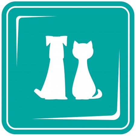 silhouette chat: icône bleue avec des animaux - symbole vétérinaire pour chiens et chats