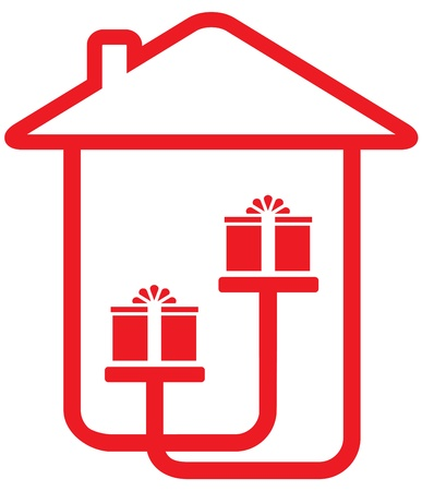 house silhouette with gifts - home holiday symbol Vector