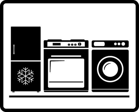 stove: black household appliances icon - gas stove, refrigerator, washing machine Illustration