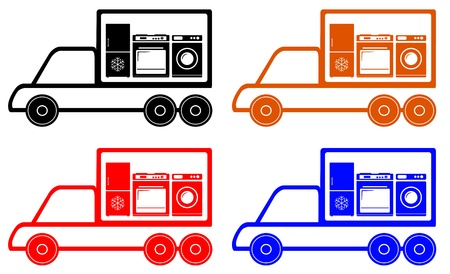 gas stove: household appliances delivery symbol with truck, gas stove, washer, refrigerator