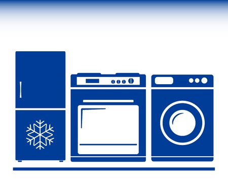 青いアイコン - ガスコンロ、冷蔵庫、洗濯機  イラスト・ベクター素材