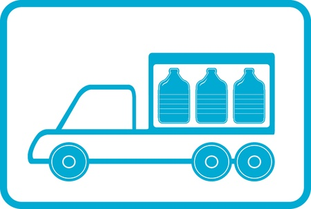 water spring: lorry with plastic bottles - water delivery symbol