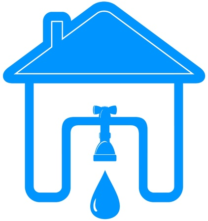 leakage: blue plumbing symbol with house, tap, spigot and drop
