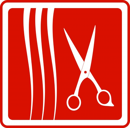hairbrush: red icon scissors and hair silhouette - hair salon symbol