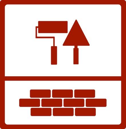 brick work: repair symbol with bricks, roller and trowel icon