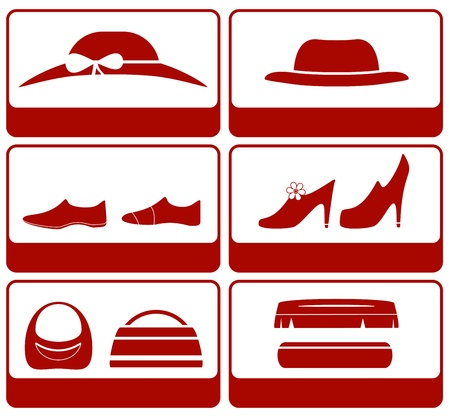 isolated icons with clothes and accessories silhouette Stock Vector - 21911944