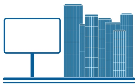 blue isolated icon with city, road and billboard Vector