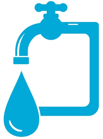 blue isolated water icon with tap faucet and drop Vector