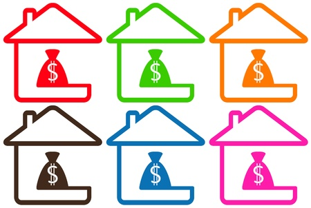 set colorful houses with money bag silhouette Vector