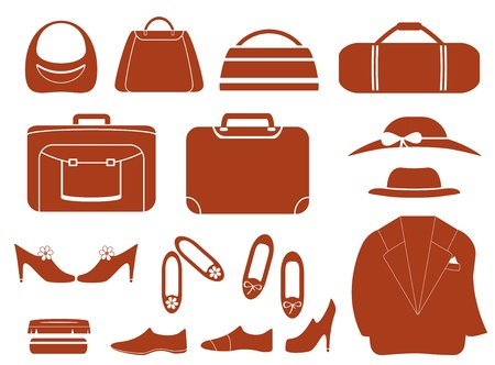 garb: set isolated objects - clothes, bags and shoes