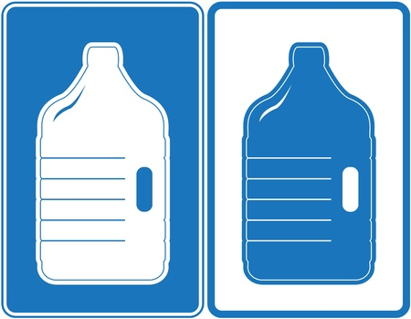 water jug: two banners with isolated plastic bottles silhouette Illustration