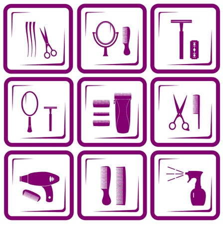 set of isolated hair care icons silhouette