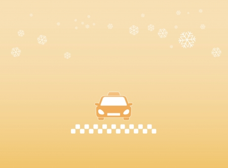 light winter background with taxi car and snowflake silhouette Vector