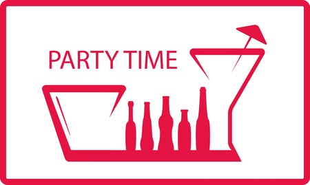 background with bottle, wineglass - party symbol Vector