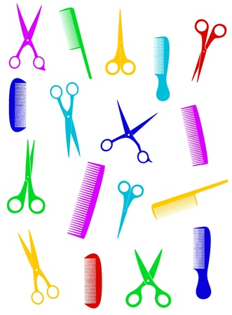 shears: background with isolated colorful scissors and comb