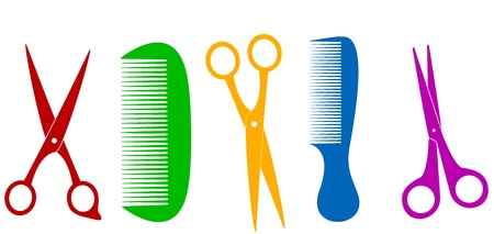 scissors and comb: colorful isolated scissors and comb - barber tools