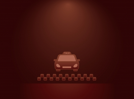 dark background with taxi car and night cabs symbol Vector