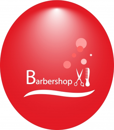 shampoo hair: red round background for hair salon with barbershop tools