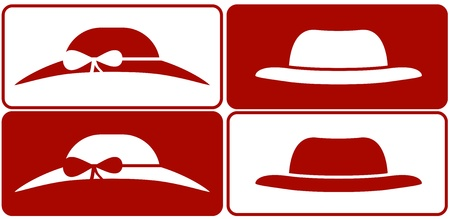 set isolated female and male hats Stock Vector - 22136427