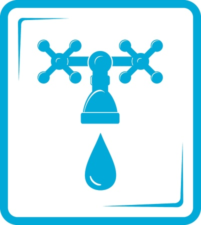 isolated blue tap spigot icon with droplet