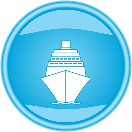 caribbean cruise: blue glossy button with white sea ship