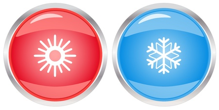 cold room: isolated glossy button with snowflake and sun