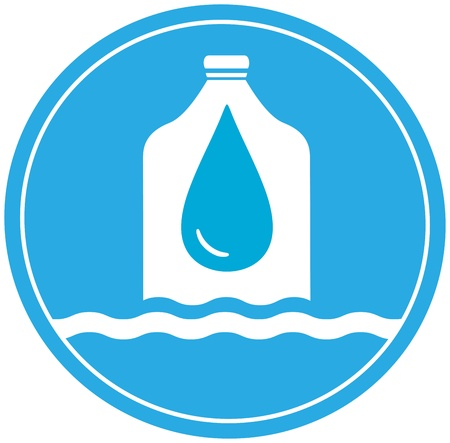 reservoir: plastic bottle with drop and wave - cargo drinking water symbol Illustration
