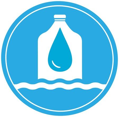 plastic bottle with drop and wave - cargo drinking water symbol Ilustração