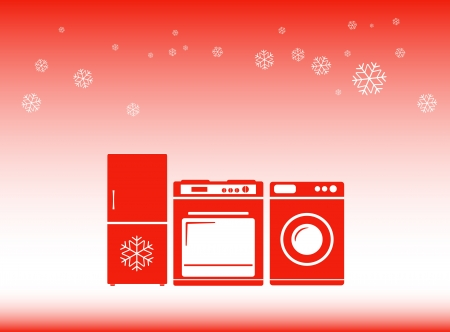 home appliance: red winter background - hot discounts on home appliances symbol