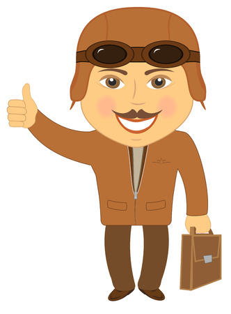 top animated: isolated cartoon man pilot smile and showing thumb up Illustration