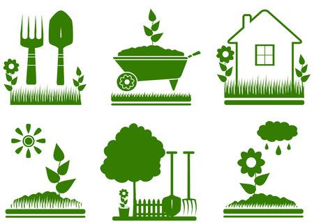 set geïsoleerd groen tuinaanleg symbolen