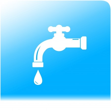 tap spigot on light and purity water background Vector