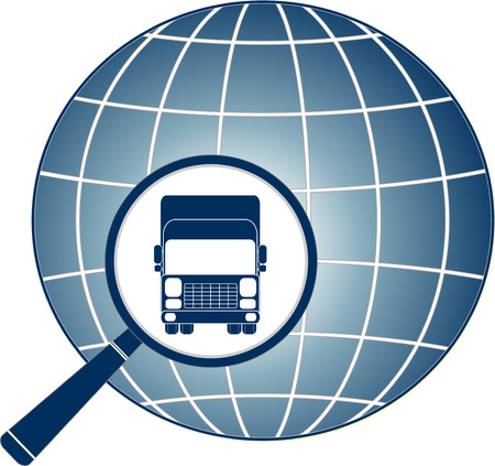 isolated transport symbol with truck, magnifier and planet icon Stock Vector - 22445880