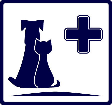 cat call: bandiera blu veterinario con cane e gatto silhouette