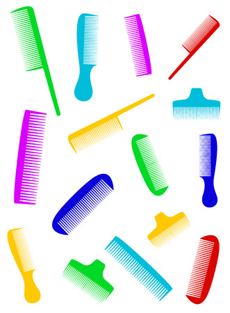 beauty barber background with many colorful comb silhouette Vector