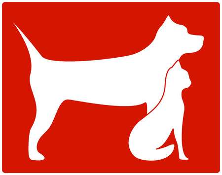 cat call: red pet icon with white dog and cat silhouette