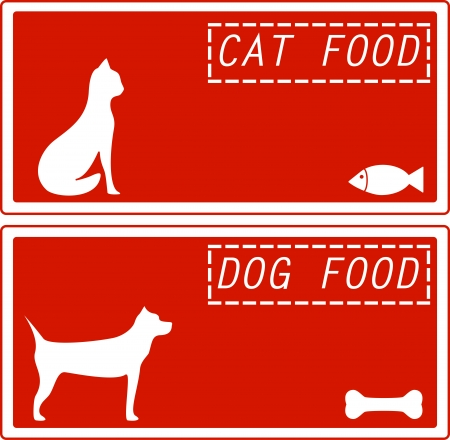 set red background for pet food symbol Vector