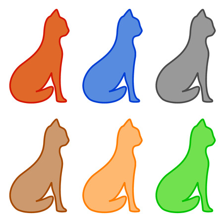 pussy yellow: set isolated colorful sit cat silhouette