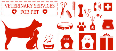 set isolated icon with pet and veterinary services objects Vector